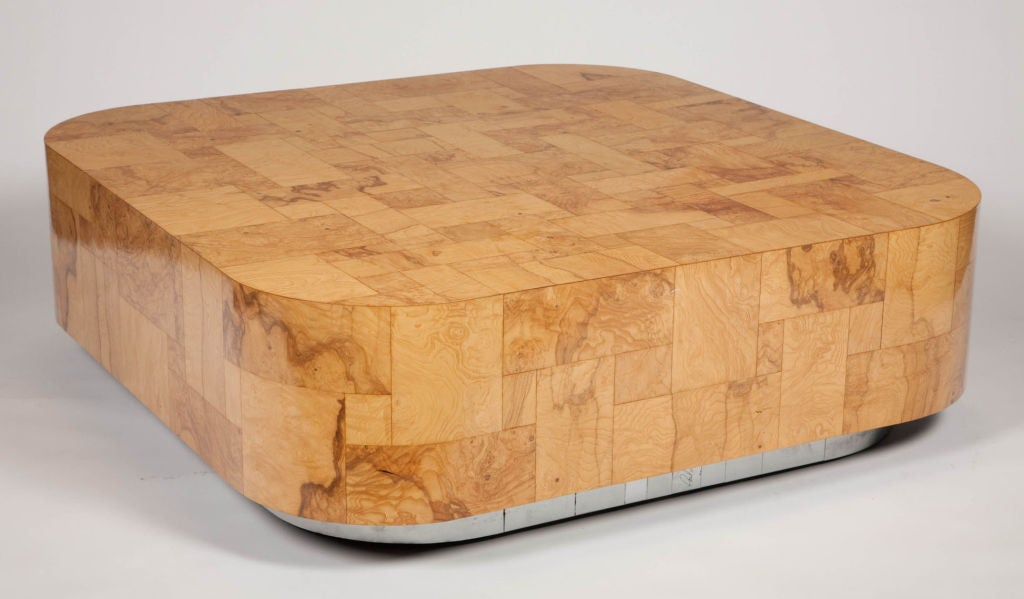 Patchwork Burl Panel Cityscape Cocktail Table by Paul Evans In Excellent Condition For Sale In New York, NY