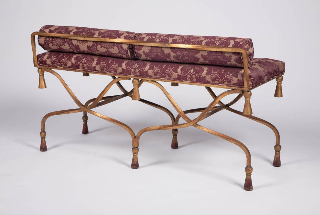 French Wrought Iron And Gilt Entry Bench At 1stdibs