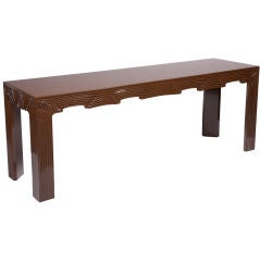 Chocolate Brown Lacquered Drapery Console after Frances Elkins