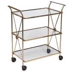 Tall Brass Directoire Bar Cart by Maison Jansen