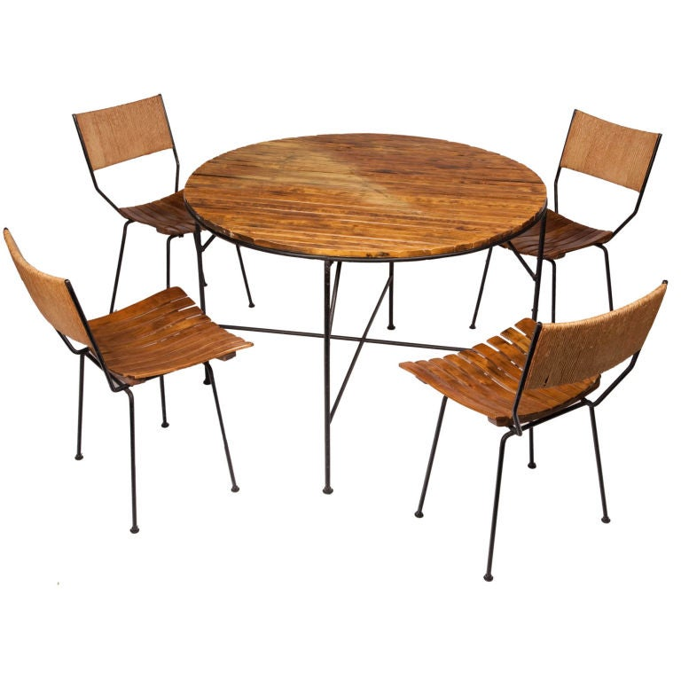 Wood Slat Dining Table And Chairs By Arthur Umanoff For