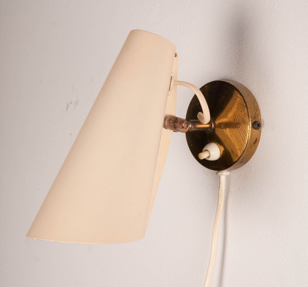 Pair Of Adjustable Metal Cone Wall Sconces By Birger Dahl