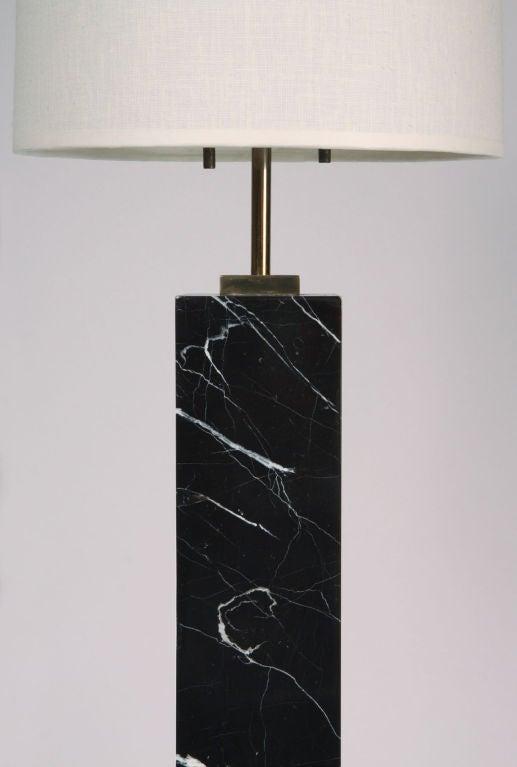 Elegant Black Marquina Marble Table Lamp By T.H. Robsjohn Gibbings 3