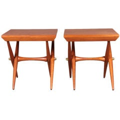 Pair of Staved Teak Occasional Tables by Jens Quistgaard