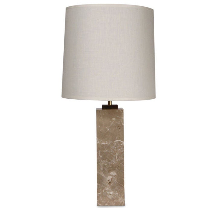 Square Cream Marble Column Table Lamp by T.H. Robsjohn-Gibbings