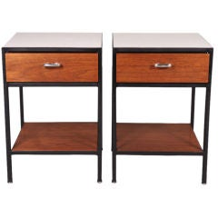 Pair of Steel-Framed Night Tables Model #4051 by George Nelson