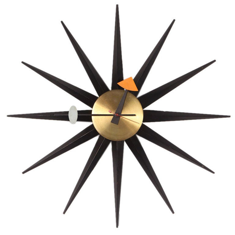 Sunburst wall clock by george nelson for howard miller at for Nelson wall clock