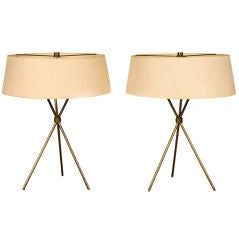 Pair of Brass Tripod Table Lamps by T.H. Robsjohn-Gibbings