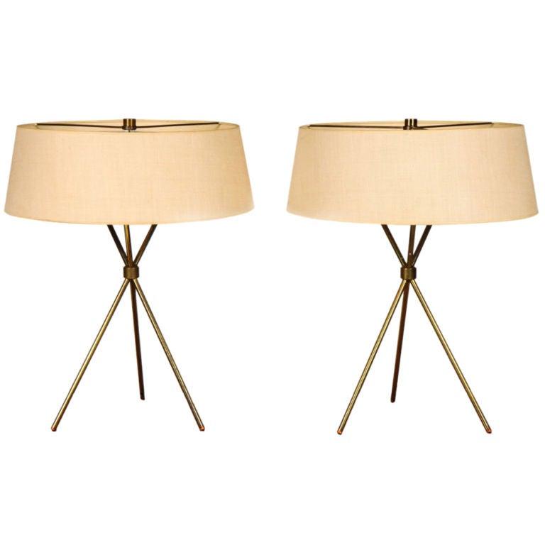 Pair Of Brass Tripod Table Lamps By T.H. Robsjohn Gibbings 1