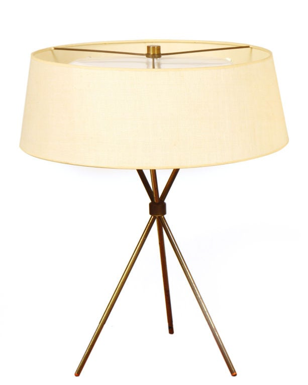 pair of brass tripod table lamps by th 2