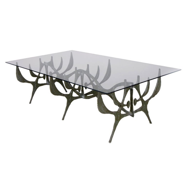 Abstract Patinated Cast Aluminum Cocktail Table By Donald Drumm At 1stdibs
