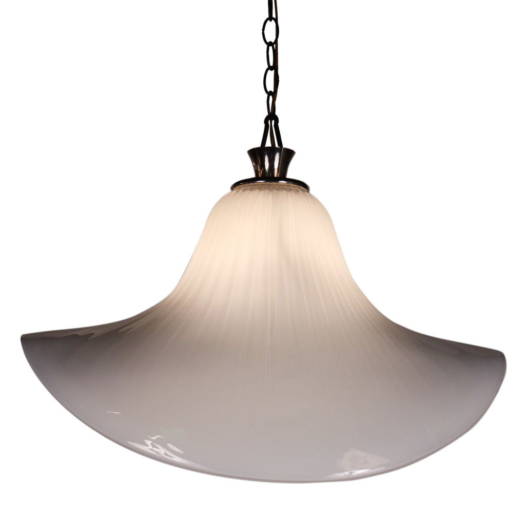 hand blown white bloom glass bell chandelier by mazzega at 1stdibs