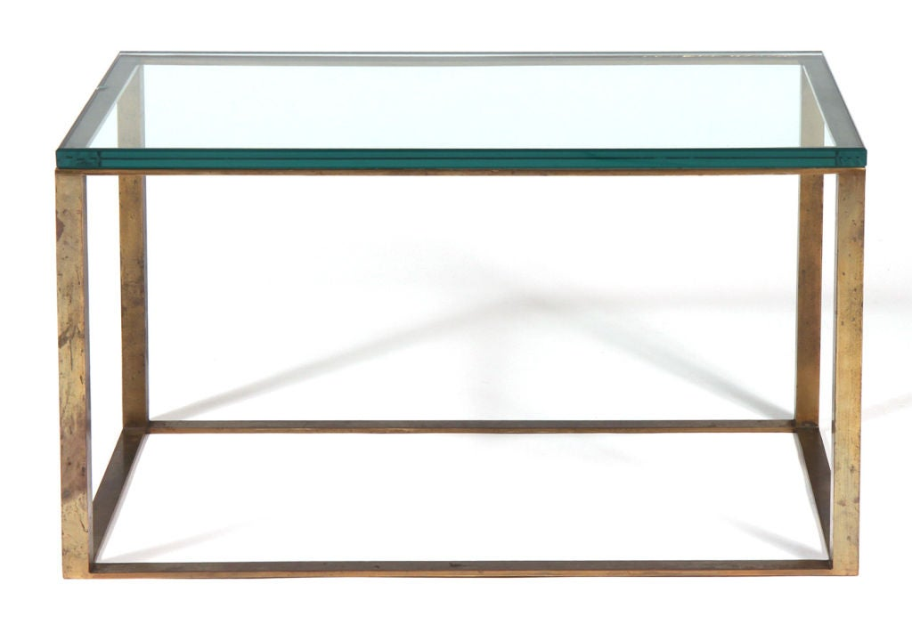 American glass top open box form brass frame cocktail table at 1stdibs Glass box coffee table