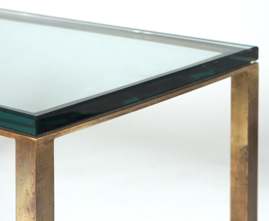 American Glass Top Open Box Form Brass Frame Cocktail Table For Sale At 1stdibs