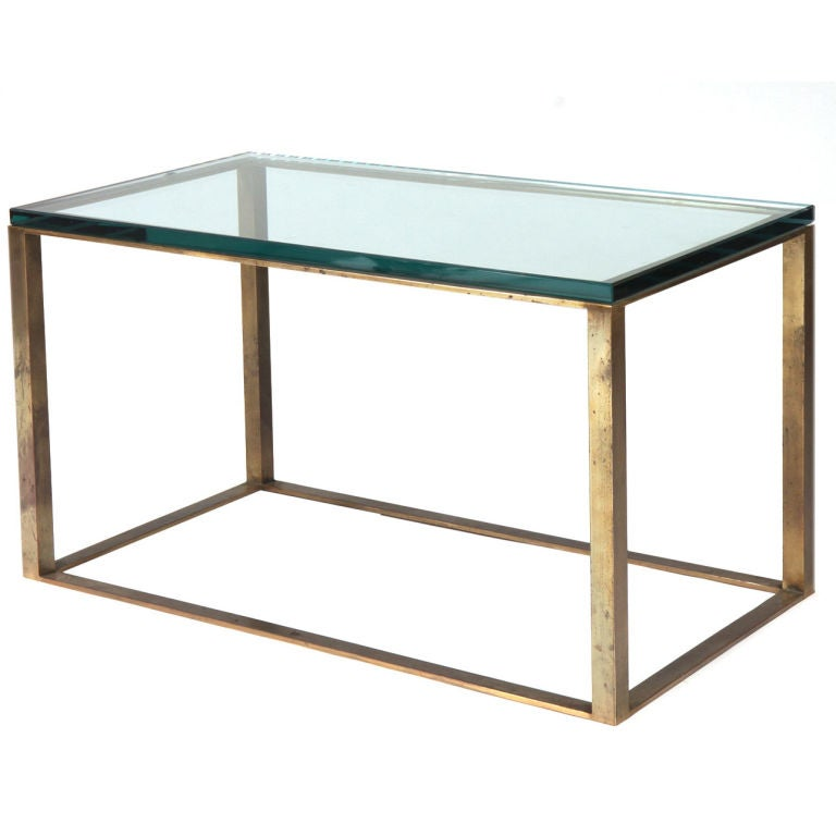 American Glass Top Open Box Form Brass Frame Cocktail Table At 1stdibs