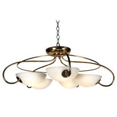 American Brass & Opaque Glass Shell Ceiling Fixture