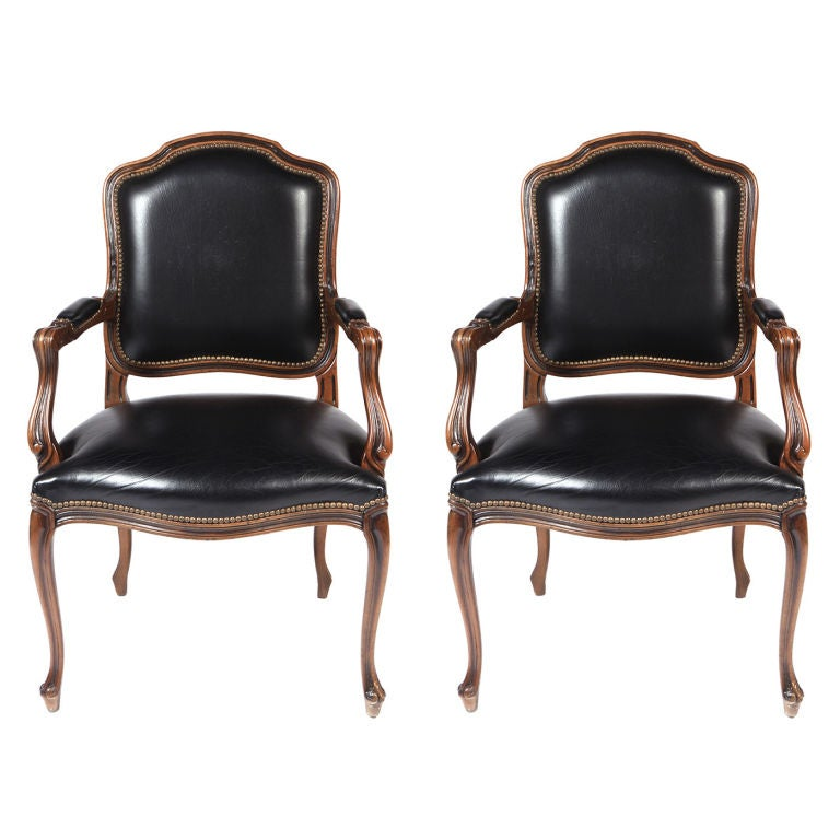 Pair Of Black Leatherette And Walnut Fauteuils By Chateau D Ax At 1stdibs