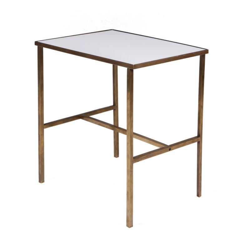 Brass Frame and Vitrolite Top Telephone Table