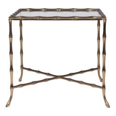 Square Brass Faux Bamboo Occasional Table After Bagues