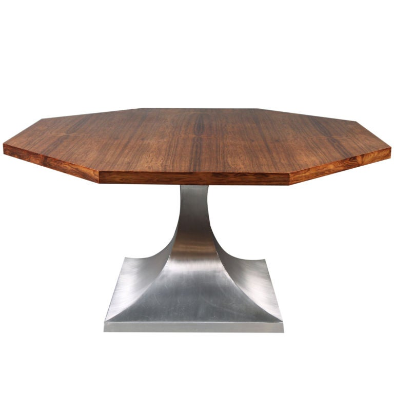 octagonal walnut and aluminum dining table after harvey