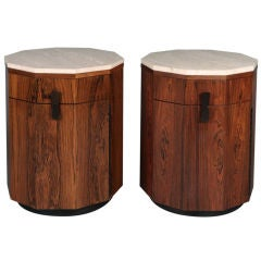 Pair of Travertine and Rosewood Decagon Cabinets by Harvey Probber