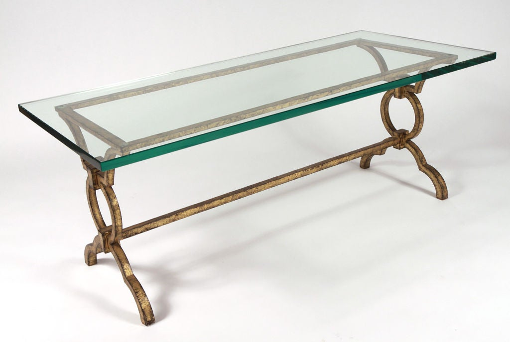 Gilt Wrought Iron Cocktail Table After Gilbert Poillerat For Sale At 1stdibs