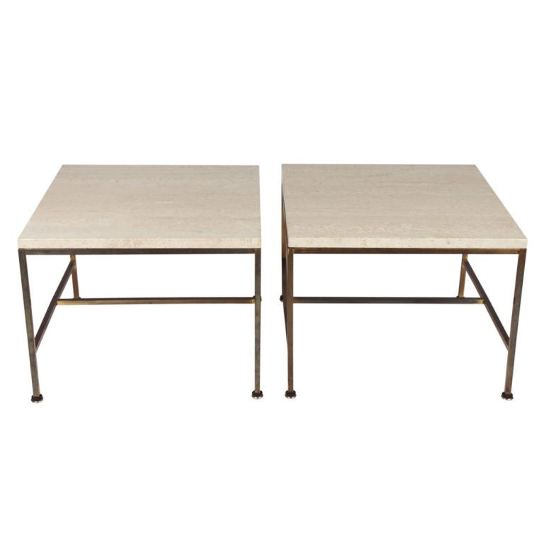 Pair of Travertine Topped Occasional Tables by Paul McCobb