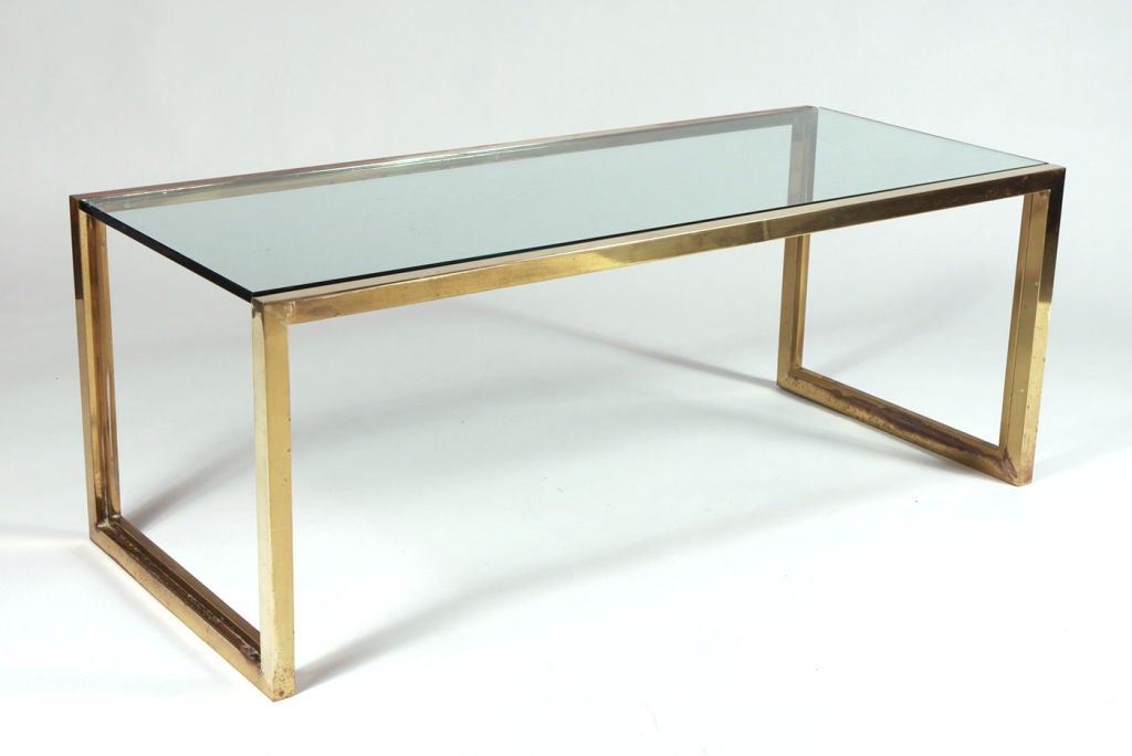 rectangular glass and brass cocktail table by maison