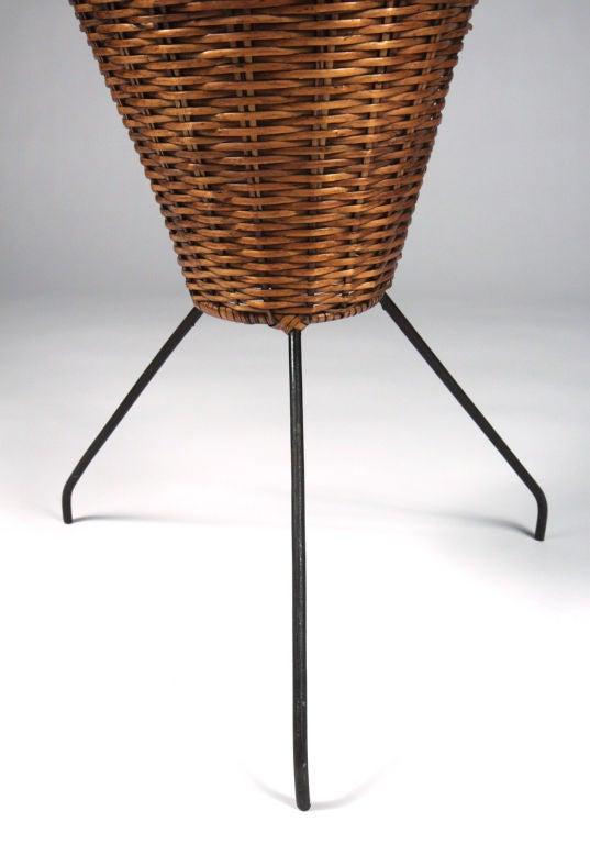 wrought iron tripod base fishing basket floor lamp by tony. Black Bedroom Furniture Sets. Home Design Ideas