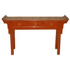 Fine Red Lacquer Console Table with Three Drawers