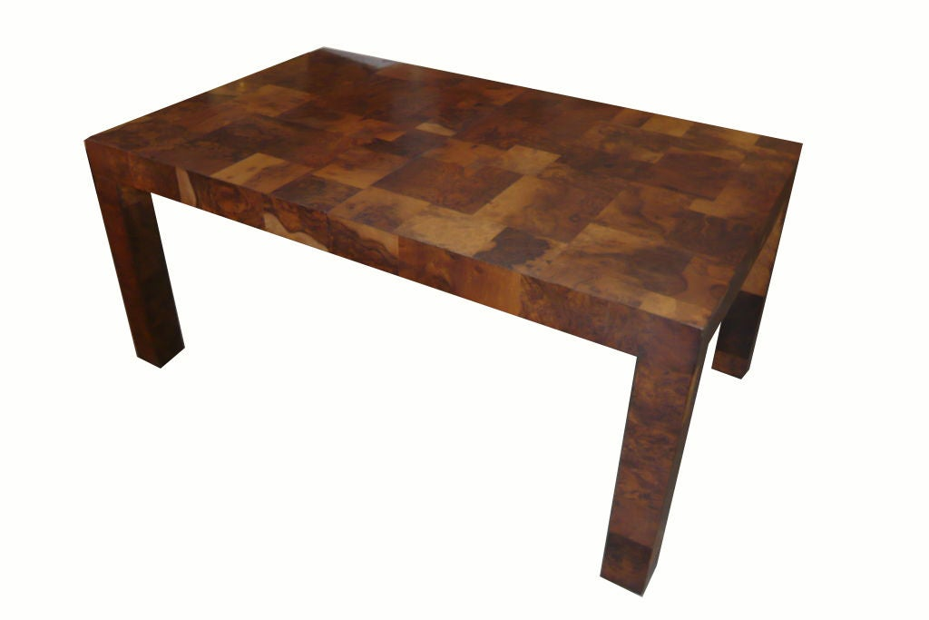 Paul Evans Burl Patchwork Directional Dining Table at 1stdibs