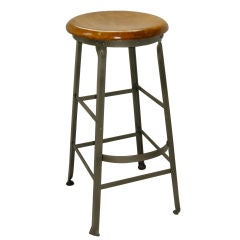 Industrial Counter Stool,Polished Steeel.