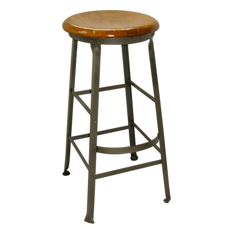 Industrial Counter Stool,Polished Steeel. For Sale