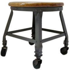 Industrial Polished Iron Stool