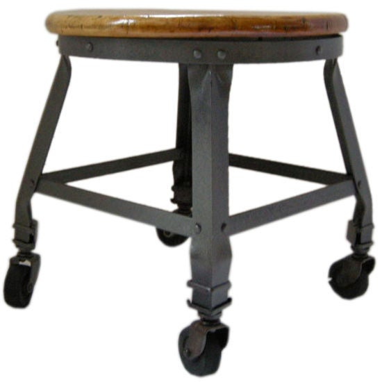 Industrial Polished Iron Stool For Sale
