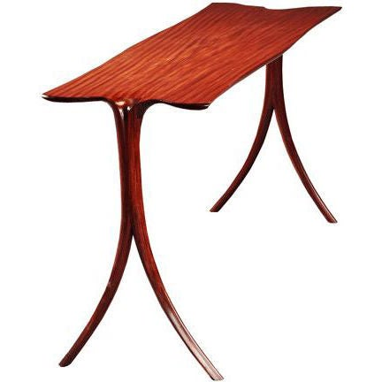 Superb form and elegance in this Afromosia console table by American Studio Craft artist, David N. Ebner. Presently in Afromosia wood but can be ordered in other woods.  Note: All works signed by the artist, David N. Ebner.  Please see the newly