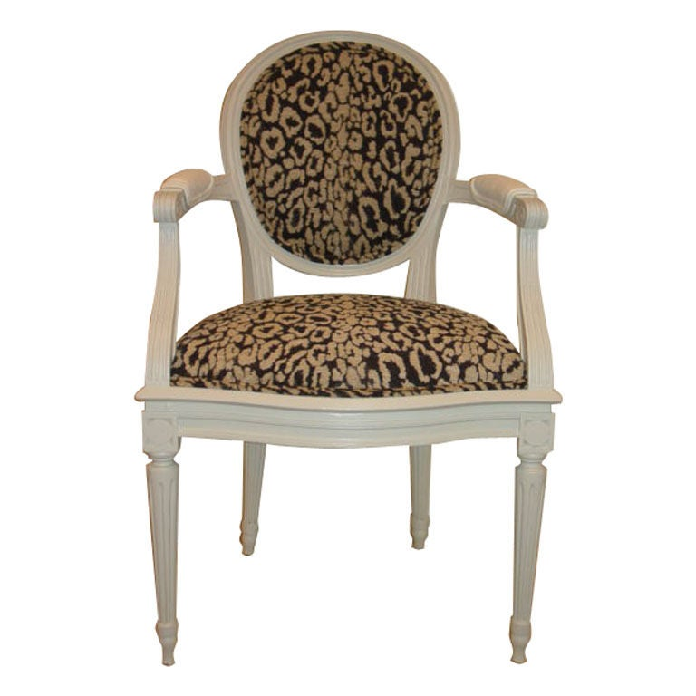 pair louis xv1 style leopard print fauteuil chairs at 1stdibs