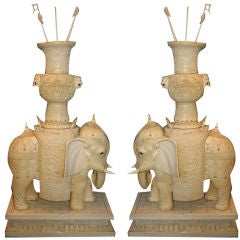 Pair,of Monumental  Chinese Hand Carved Ivory Elephants