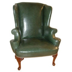 Superb Antique English Leather Wing Chair (1880s)