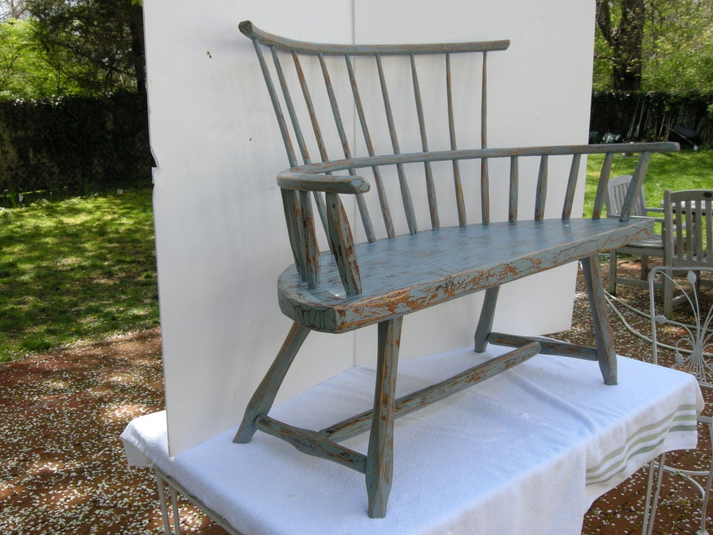 Rare Antique Windsor Style Bench New England At 1stdibs