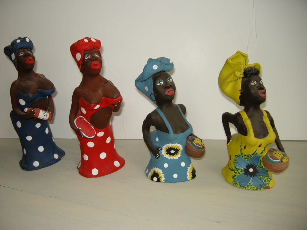 Four Studio Pottery Figural Cuban Mid Century Incense
