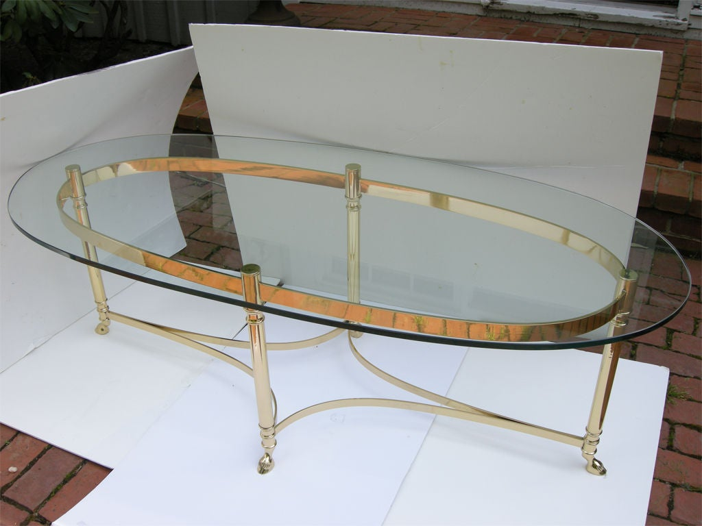 Graceful Solid Brass And Glass 1940s Coffee Table At 1stdibs