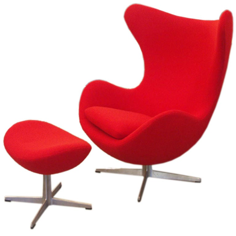 Arne Jacobsen Egg Chair and Ottoman at 1stdibs