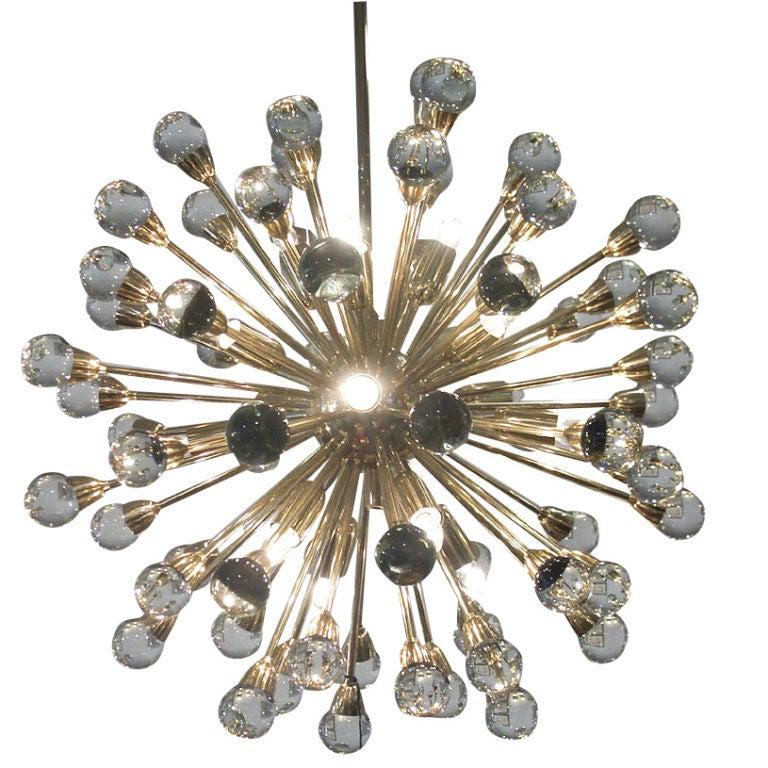 Gorgeous Italian Brass Sputnik Chandelier 1