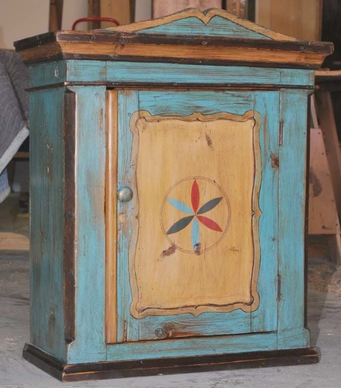 Antique Painted Wall or Floor Cabinet 2 - Antique Painted Wall Or Floor Cabinet At 1stdibs