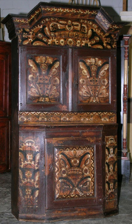A rare example of traditional Swedish Folk Art, this buffet was painted in the