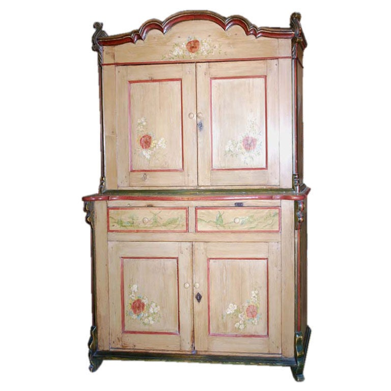 19th Century Painted Buffet, Step Back Hutch