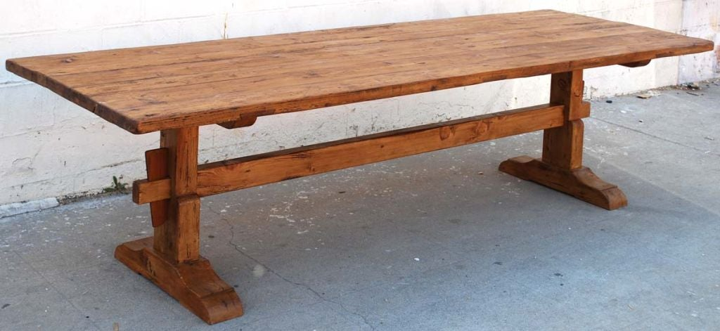 Trestle Table In Vintage Pine, Custom Made By Petersen