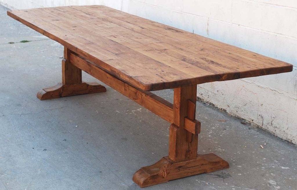 American Trestle Table in Vintage Pine, Custom Made by Petersen Antiques For Sale