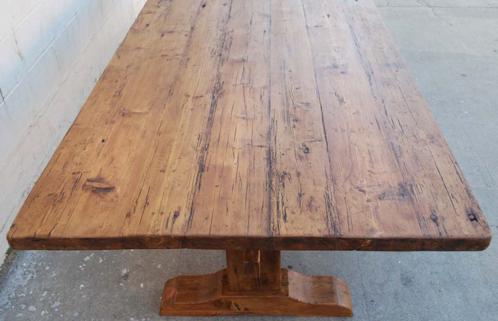 Trestle Table in Vintage Pine, Custom Made by Petersen Antiques In New Condition For Sale In Los Angeles, CA